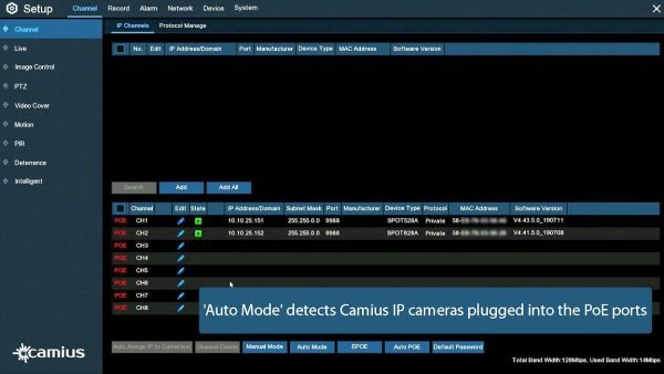 CAMIUS 8 channel NVR 4k security