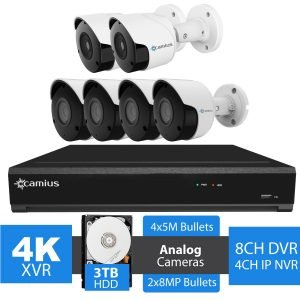8 Channel DVR NVR 4K Security System, 6 Outdoor Bullet cameras, 3TB