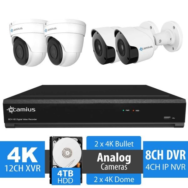 Camius 4K 8 channel DVR security system with 4TB hard drive, 4 x 8MP dome Bullet cameras