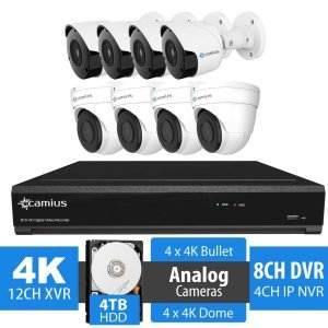 Camius 4K 8 channel DVR security camera system 124K4b4D4T