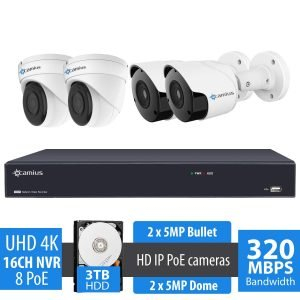 16 Channel 4K NVR Security System, 4 PoE Wired 5MP IP cameras - 3TB