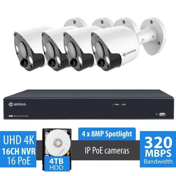 4k spotlight 16 channel ip camera system