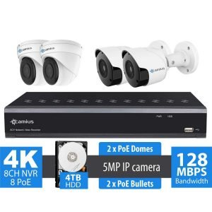 camius 4k 8 channel poe nvr 4 camera kit