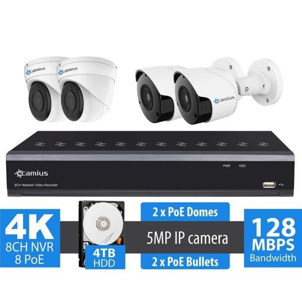 camius 4k 8 channel poe nvr 4 camera kit