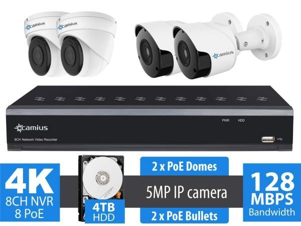 8 Channel NVR security system, 4 Wired 5MP PoE IP cameras - 4TB HDD