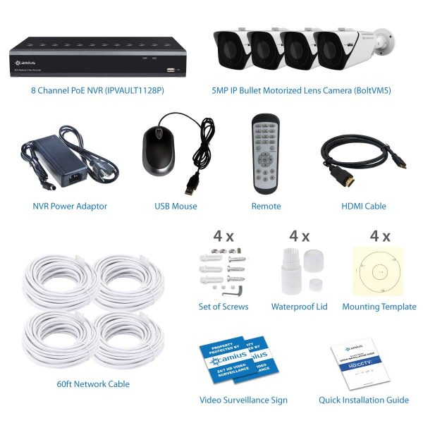 Camius 5MP PoE camera system with BoltVM5 and best NVR IPvault1128P