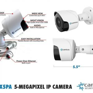 IP PoE Security Camera - 5MP Outdoor Bullet - 3.6mm lens - BoltX5PA