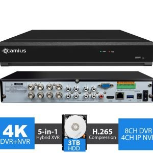 4K Security System 8 Channel DVR, 4CH IP NVR - 3TB - TriVault4K184