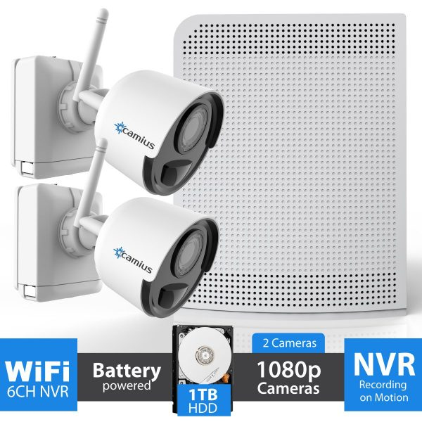 Camius 2-battery operated wireless camera NVR system with hard drive 1TB
