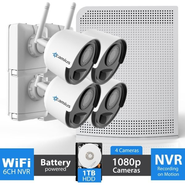 4 Wireless Camera Battery Operated NVR System, 1TB HDD - WFK41T